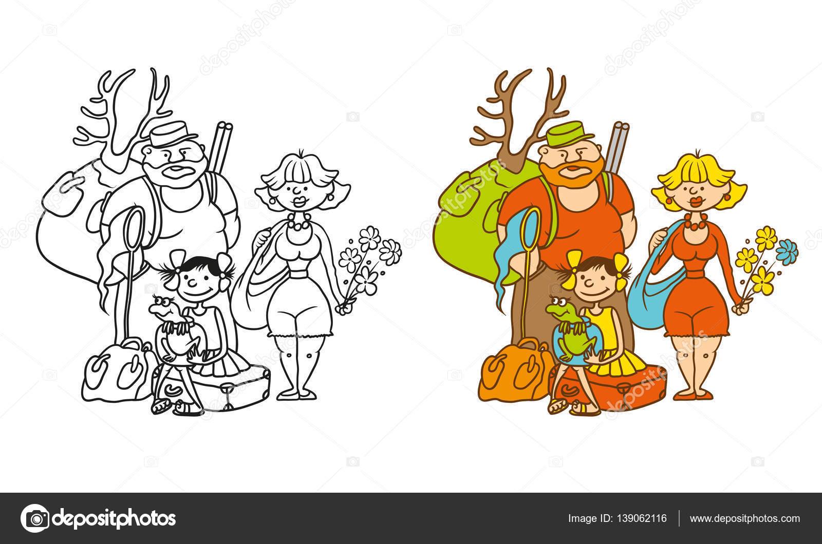 Vector para colorear personajes de la caricatura humorística ...