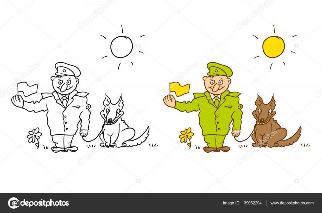 Coloriage Chien Militaire.Vector Coloriage Personnage Humoristique Caricature Joyeux