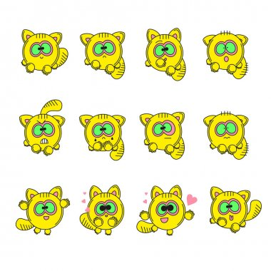 Set vector illustrations isolated character cartoon cat stickers emoticons with different emotions for site, info graphic, video, animation, websites, e-mails, newsletters, report, comic.
