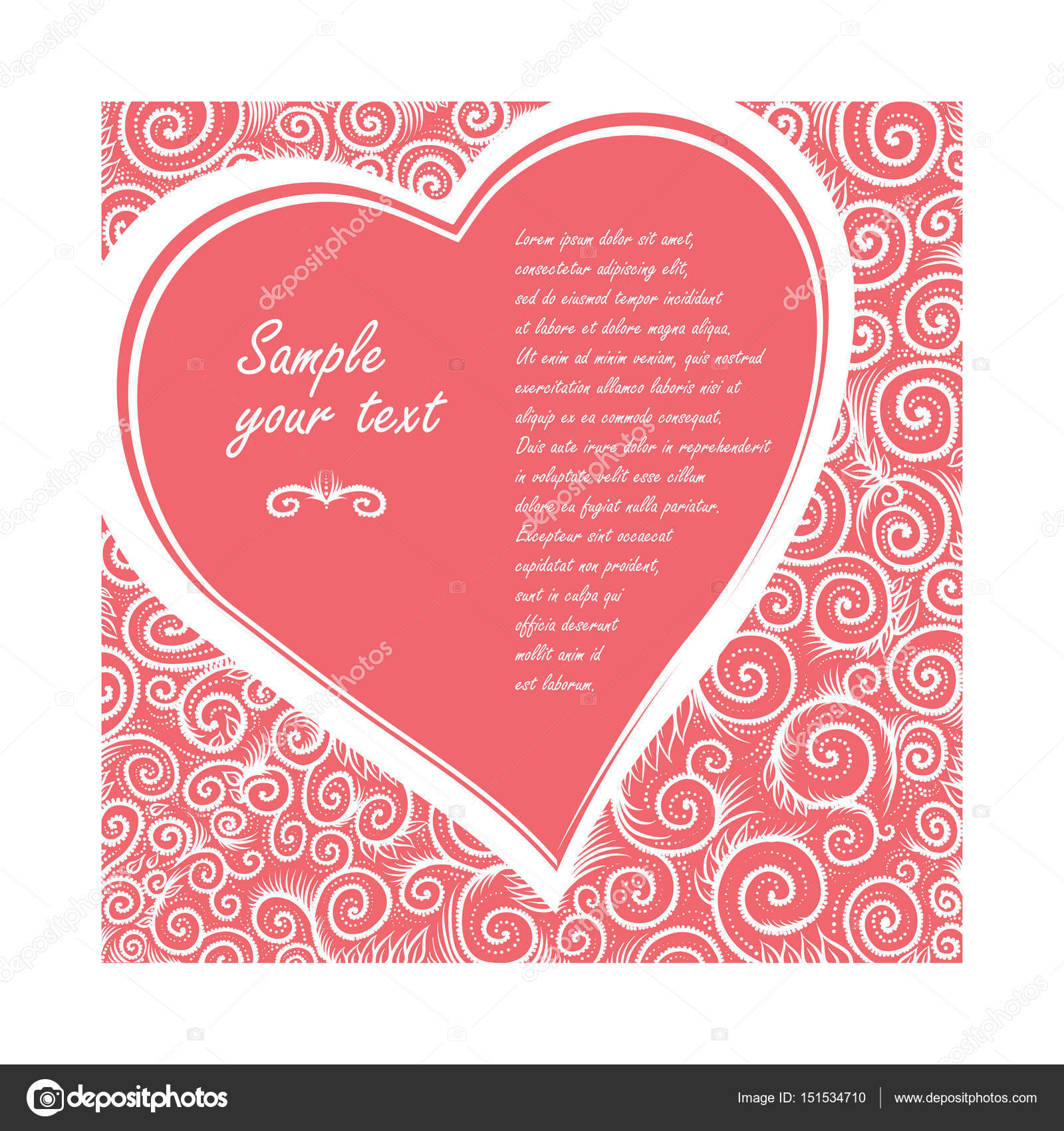 Vector card in shape of heart on a rose background of ornate pattern ...
