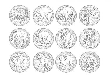 Chinese zodiac aggressive animals round icons set. Rat snake dragon pig rooster rabbit horse monkey dog tiger ox bull mouse. The sketch black and white vector illustration.