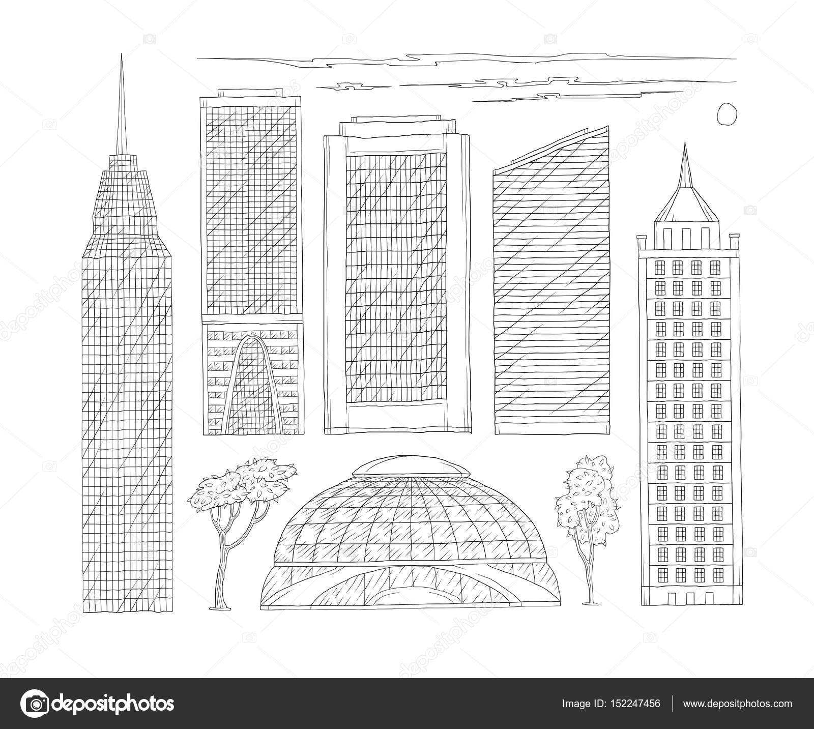 Vector Black And White Set Of Sketch Illustration High Rise Urban Office Public Buildings A Kit Drawn Lines Skyscrapers Modern Metropolis