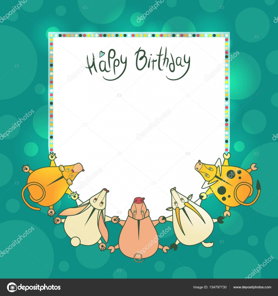 Vector greeting children card with wishes for a happy birthday ...