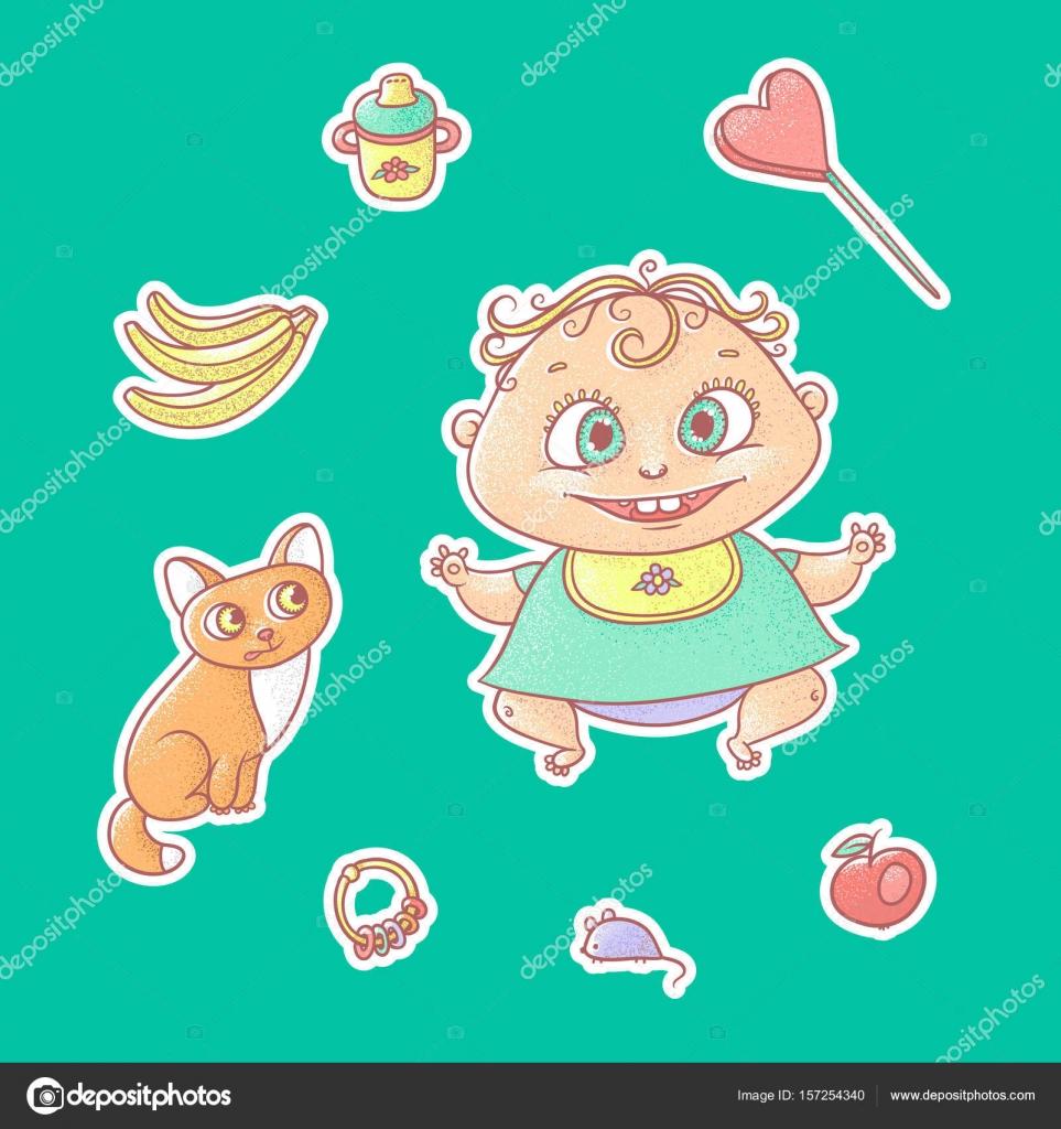 Vector set of color illustrations stickers joyful child and kitten ...