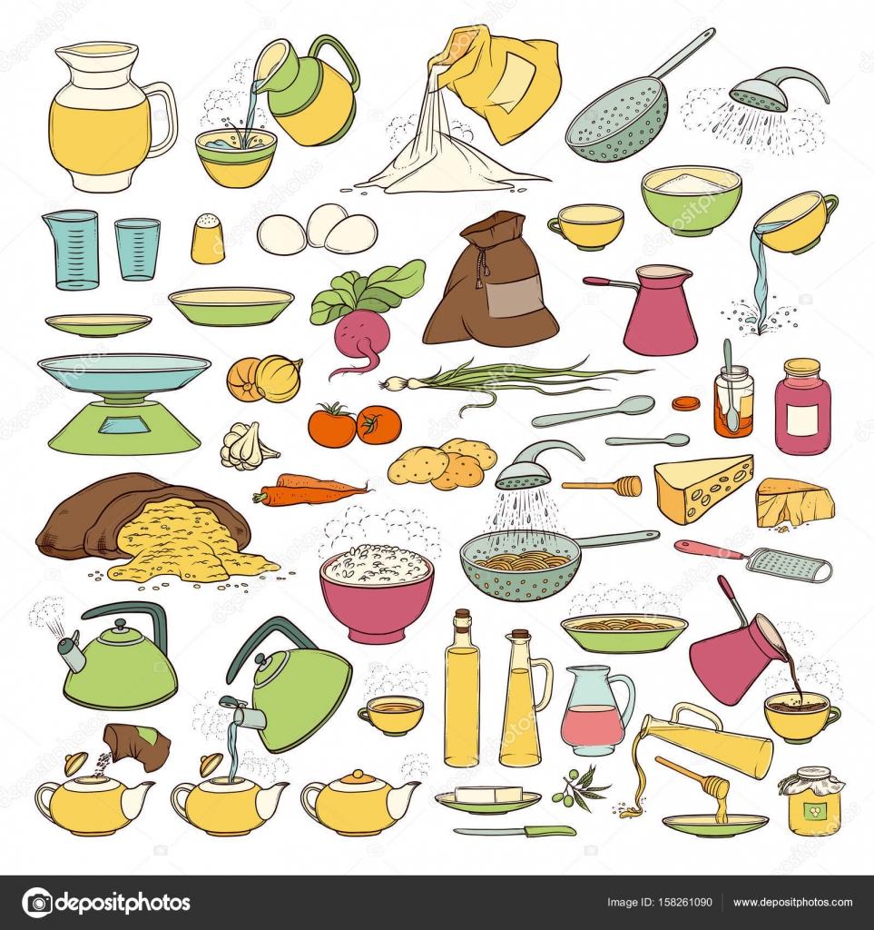 3840af13c Conjunto de productos alimenticios, bebidas y utensilios de cocina en Vector  bosquejo colorista colección. Preparar té y café, cocción de pasta, ...