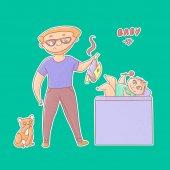 Fotografie Strukturierte Vektor lustige Illustration Aufkleber. Unerfahrene Vater mit Brille und Bart nahm eine stinkende Windel Baby und Kater sieht. Kleines Kind auf dem Wickeltisch mit einer Rassel Spielzeug spielen