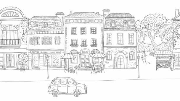 Animáció városi utca a történelmi európai város. Az úton haladó autók és teherautók. Az emberek gyalog, galambot repülni, épületek, üzletek és kávézók. Húzott vonalak fekete-fehér háttér a város élet.