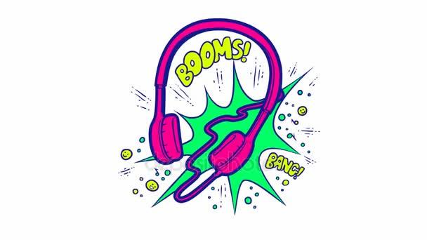 Illustrazione animata variopinta della cuffia in stile pop art. I suoni della musica ad alto volume dalle cuffie: Boom e Bang. Vivido schizzo disegno auricolare elettronica audio su priorità bassa bianca