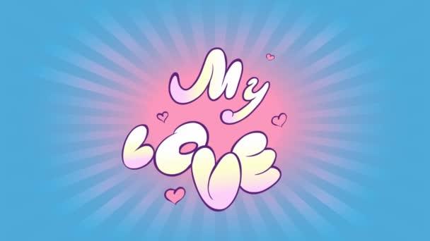 Animace kreslený nápis o zamilovanosti. Ostré prohlášení o lásce a růžové srdce na pozadí radiálních paprsků a modré oblohy. Animované kreslené grafiky