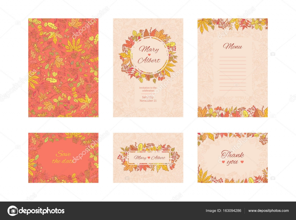 Vector suite wedding invitation card set frame cards with autumn vector suite wedding invitation card set frame cards with autumn leaves and berries collection stopboris Choice Image