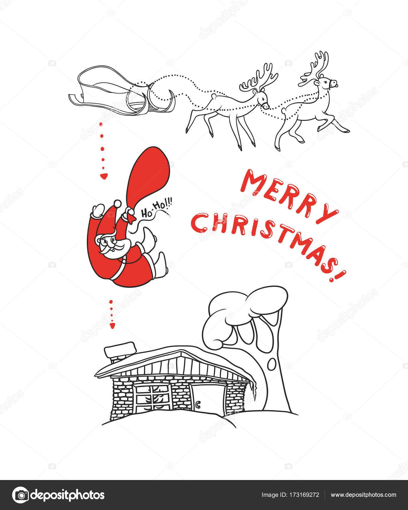 Immagini Di Babbo Natale In Bianco E Nero.Illustrazione Di Babbo Natale Con Regali Da Una Slitta Con