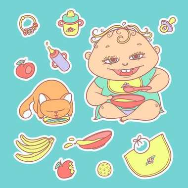 Vector set of color sketch illustrations stickers happy child and kitten. Apples, bananas, mush and other baby food. The flat chubby curly kid eating porridge and red cat drinking milk or water