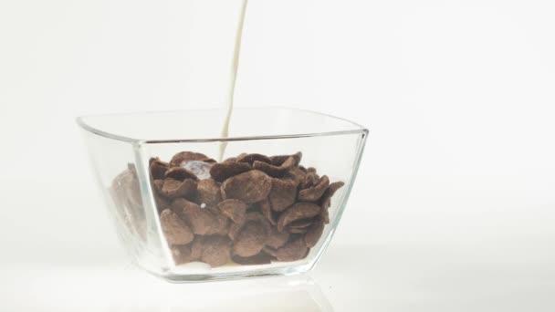 Čerstvé zdravé jídlo. Mléko nalévající se do průhledné misky s čokoládovými vločkami na bílém pozadí. Koncept zdravé snídaně, čisté stravování, diety, vegetariánské, veganské jídlo. Boční pohled