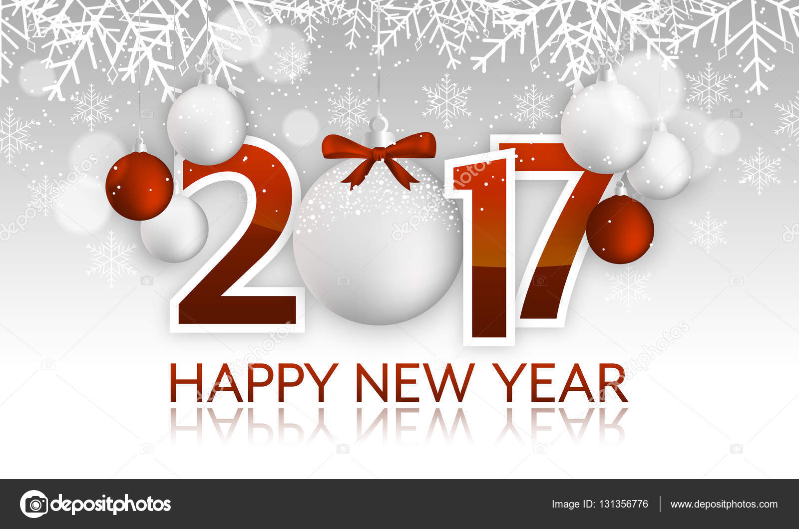 Happy New Year 2017 Headline Or Banner With Hanging Bauble Bow