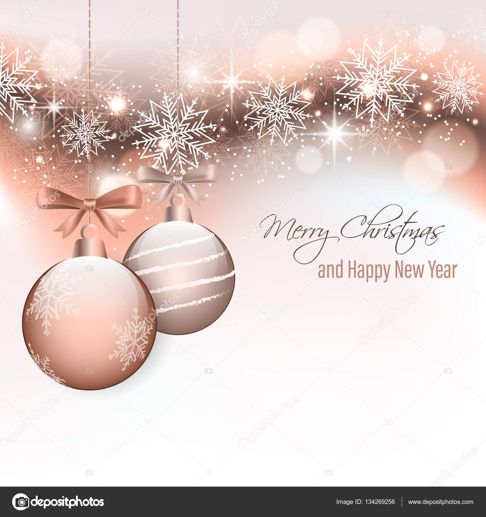 christmas card with hanging baubles and snowflakes happy new year stock vector