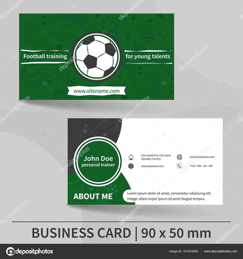 Plantilla de tarjeta de visita. Entrenamiento de fútbol. Entrenador ...