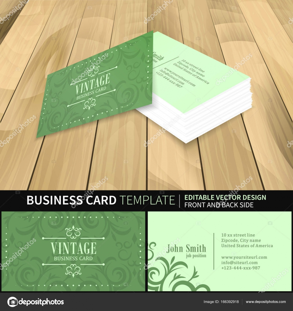 Green business card template vector vintage design with front and green business card template design in vintage style with perspective view on wooden background front and back side vector illustration reheart Images