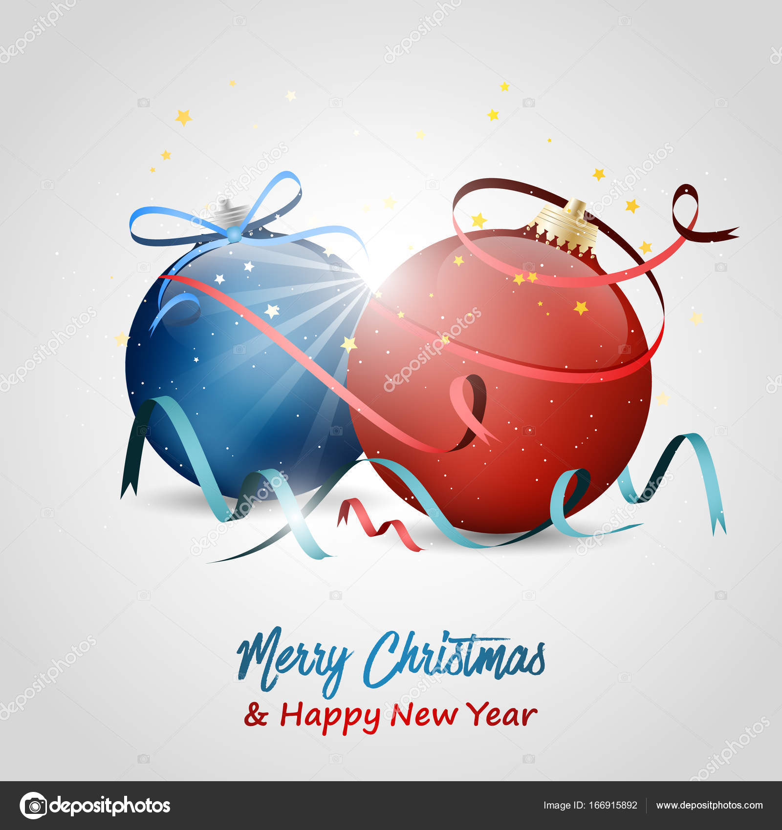 christmas and new year wishes vector illustration with red and blue baubles stars bow ribbons and confetti vector by ftotti