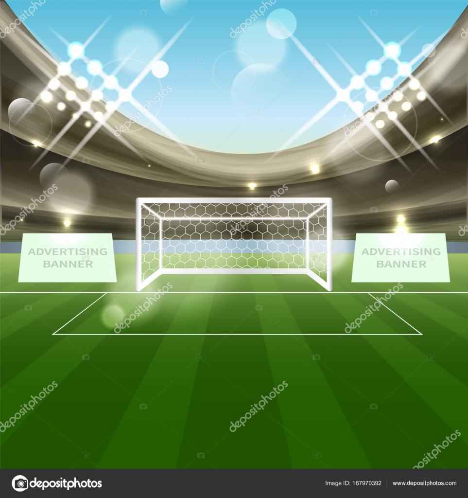 Fussball Stadion Vektor Hintergrund Mit Net Fussballtor