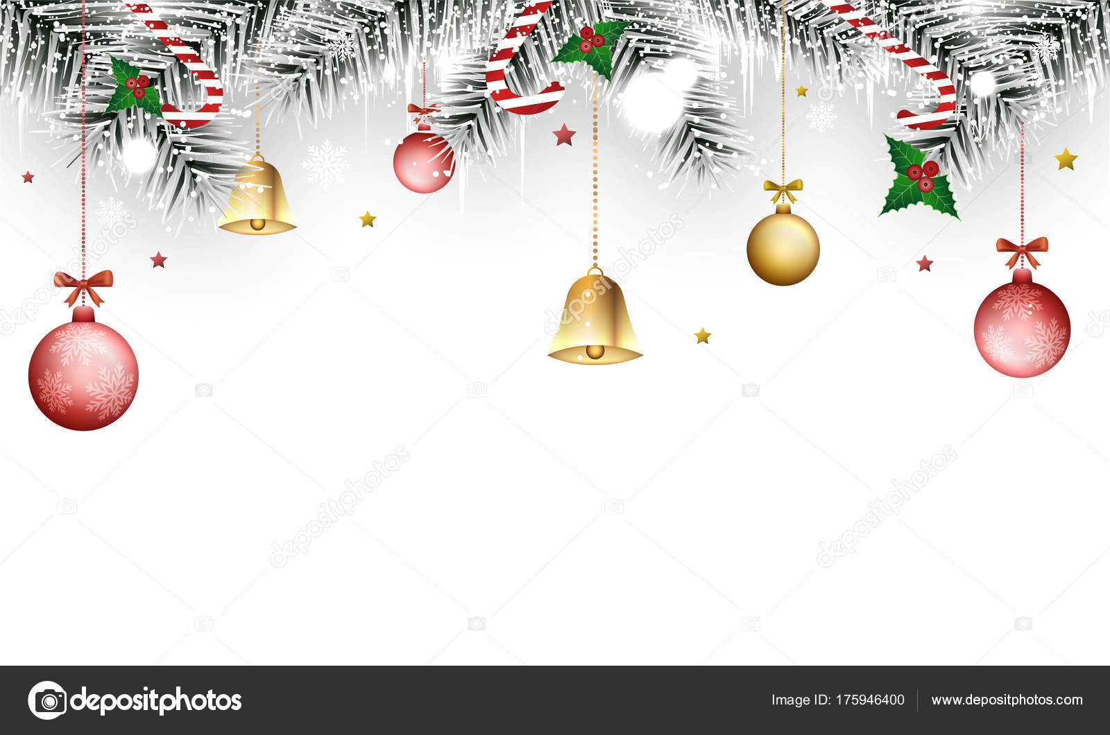 Christmas vector winter banner with holly berries, golden bells ...