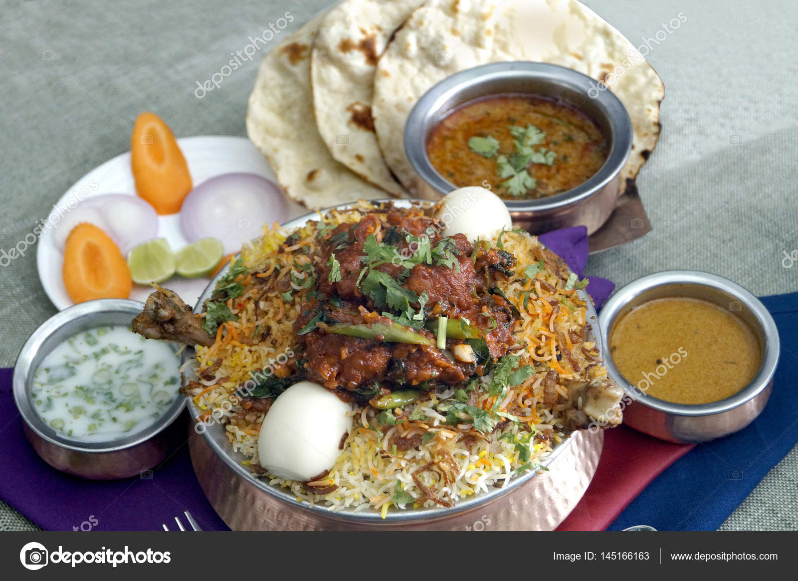 Chicken Biryanieggplant Curry Roti Stock Photo