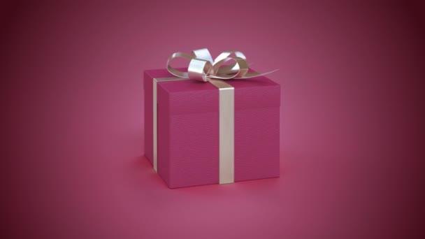 3D Render Red Gift - 4k Bezproblémové rotující realistický dárek