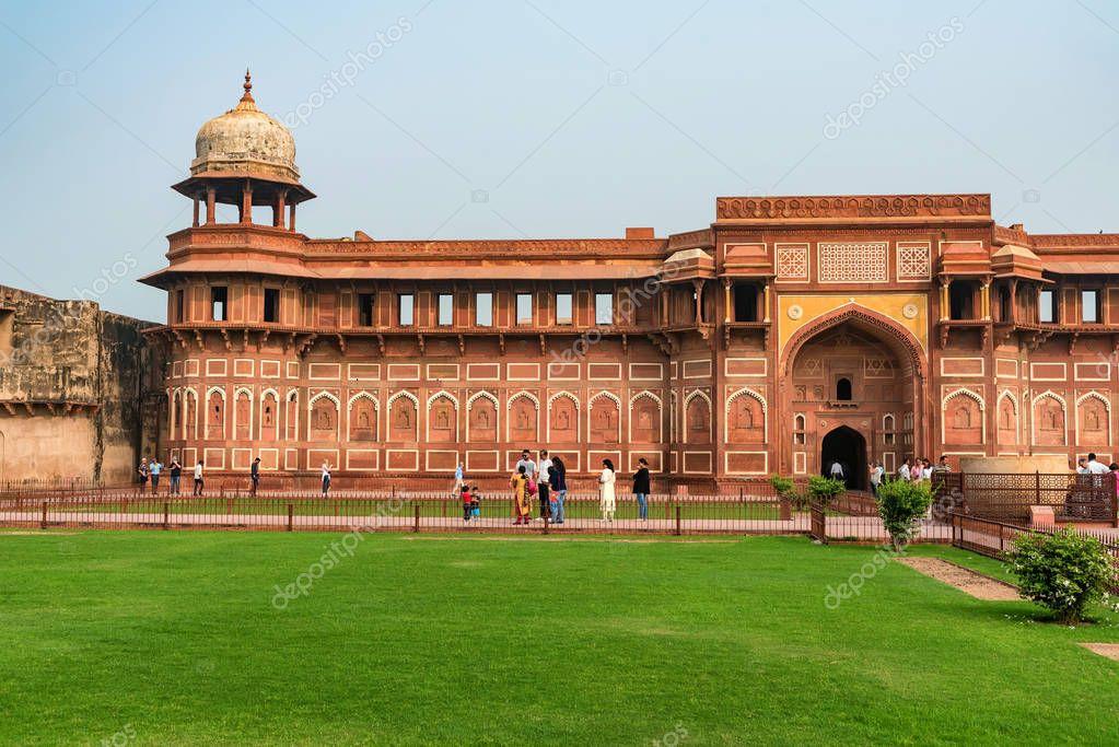FORT, AGRA, INDIA - NOVEMBER, 2017: Jahangir Palace