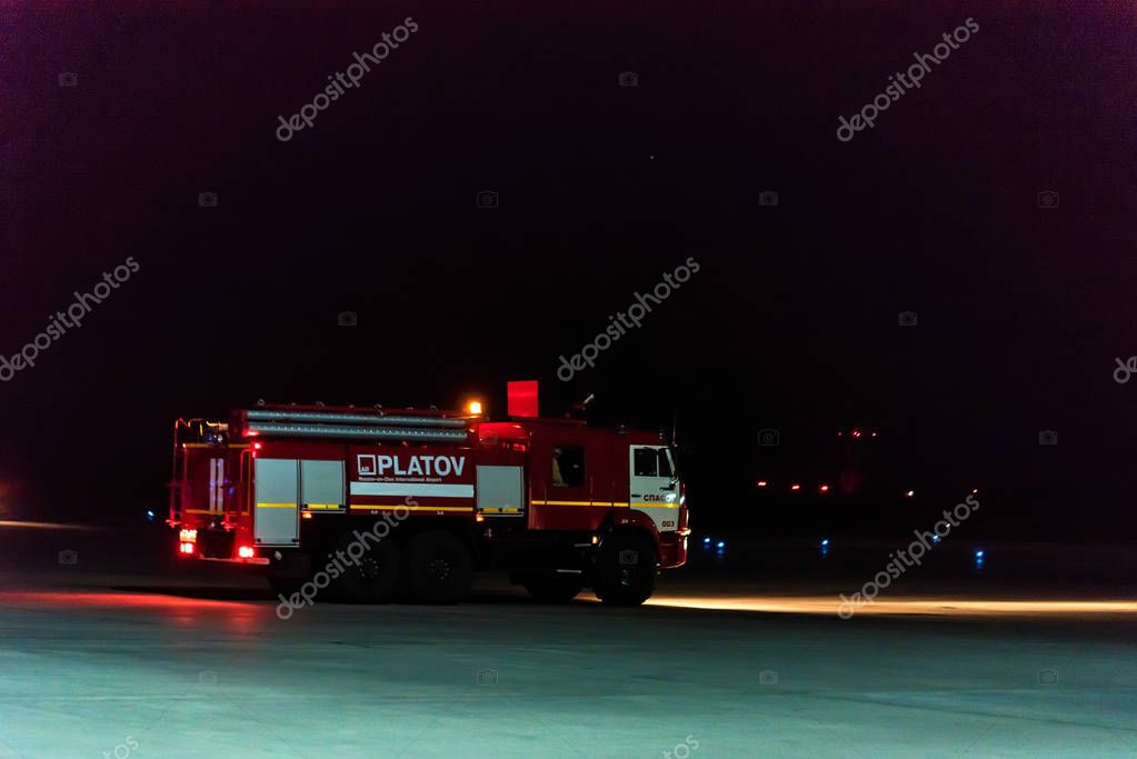 ROSTOV-ON-DON, RUSSIA - 28 APRIL 2018: Fire engine in Platov international airport