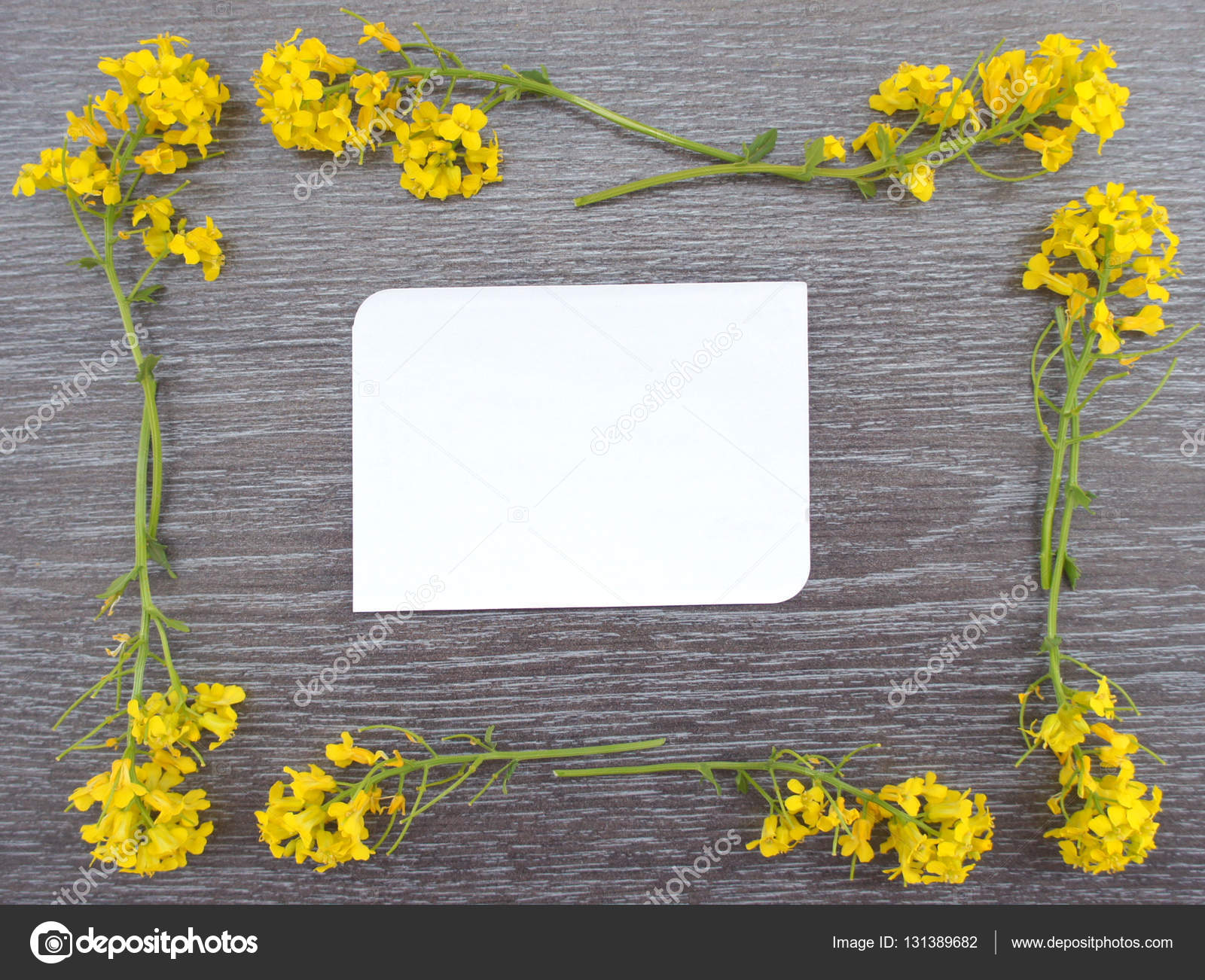 Marco de flores silvestres amarillas y una hoja de papel para ...