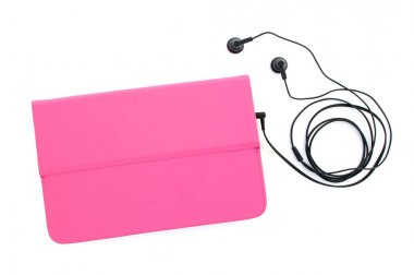 Phone in a pink case with headphones isolated on white background