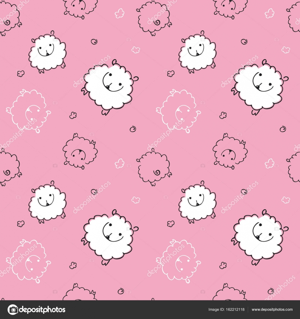 Seamless Pattern With Funny Sheep On Pink Background Child For Textiles Wallpaper