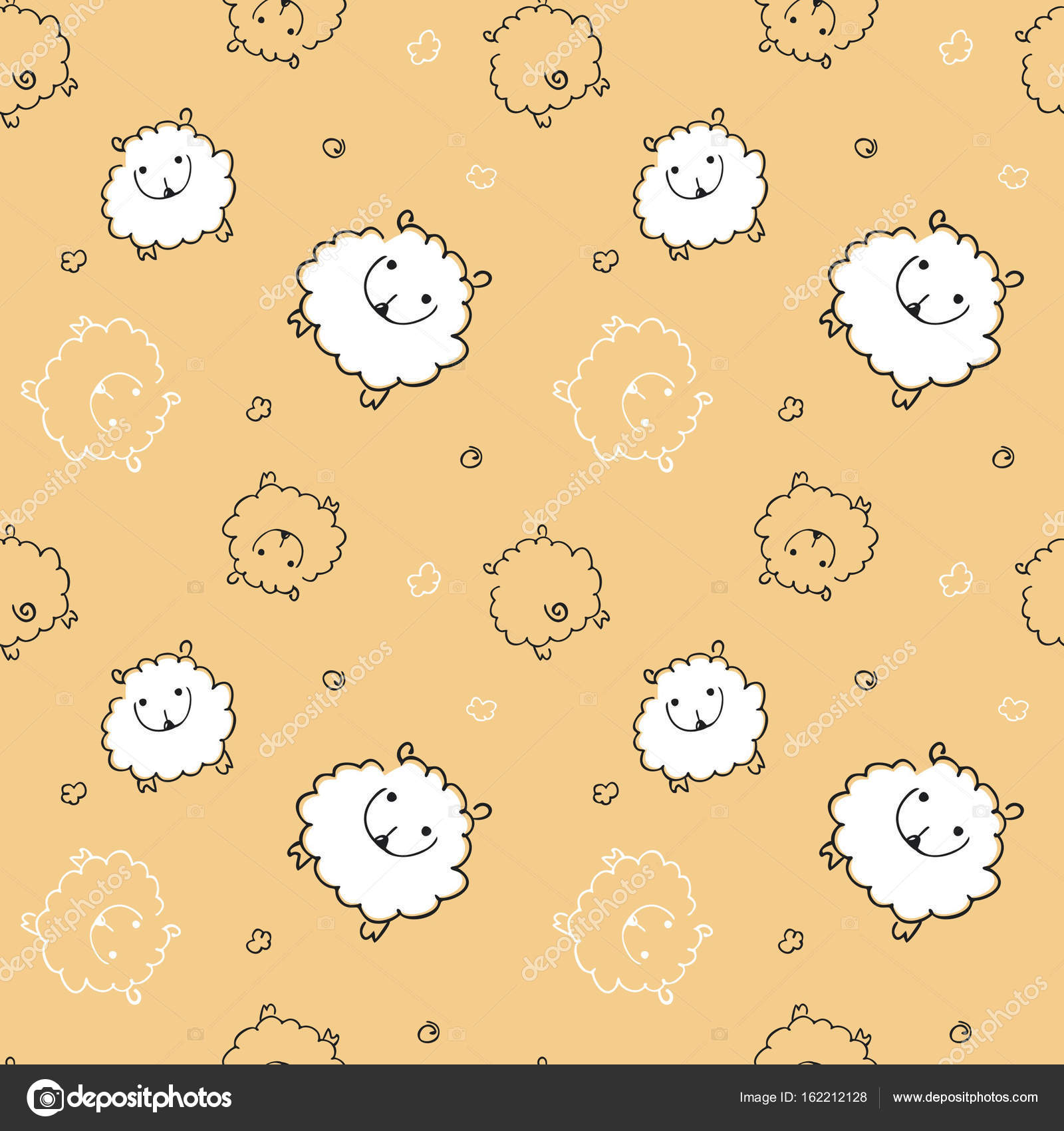Seamless Pattern With Funny Sheep On A Beige Background Child For Textiles Wallpaper
