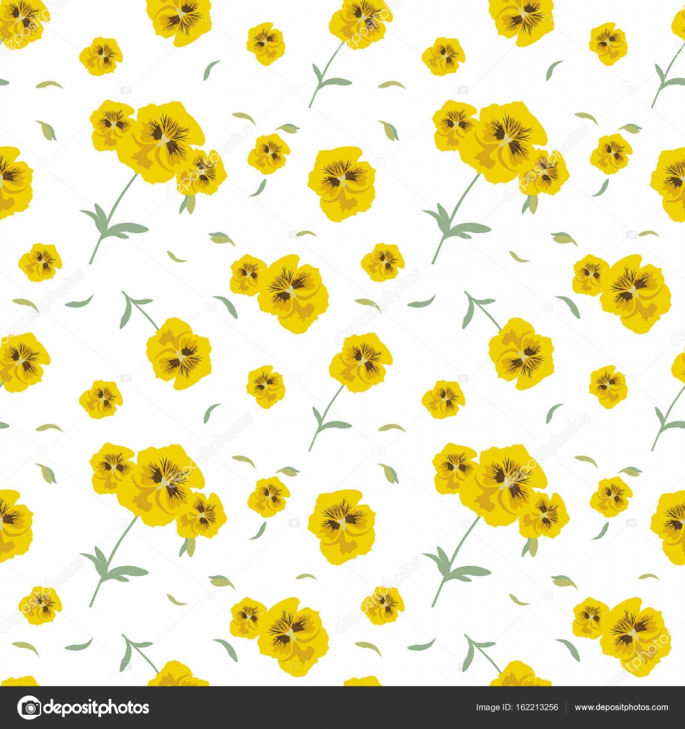 Seamless Pattern Of Yellow Flowers Pansies On White Background