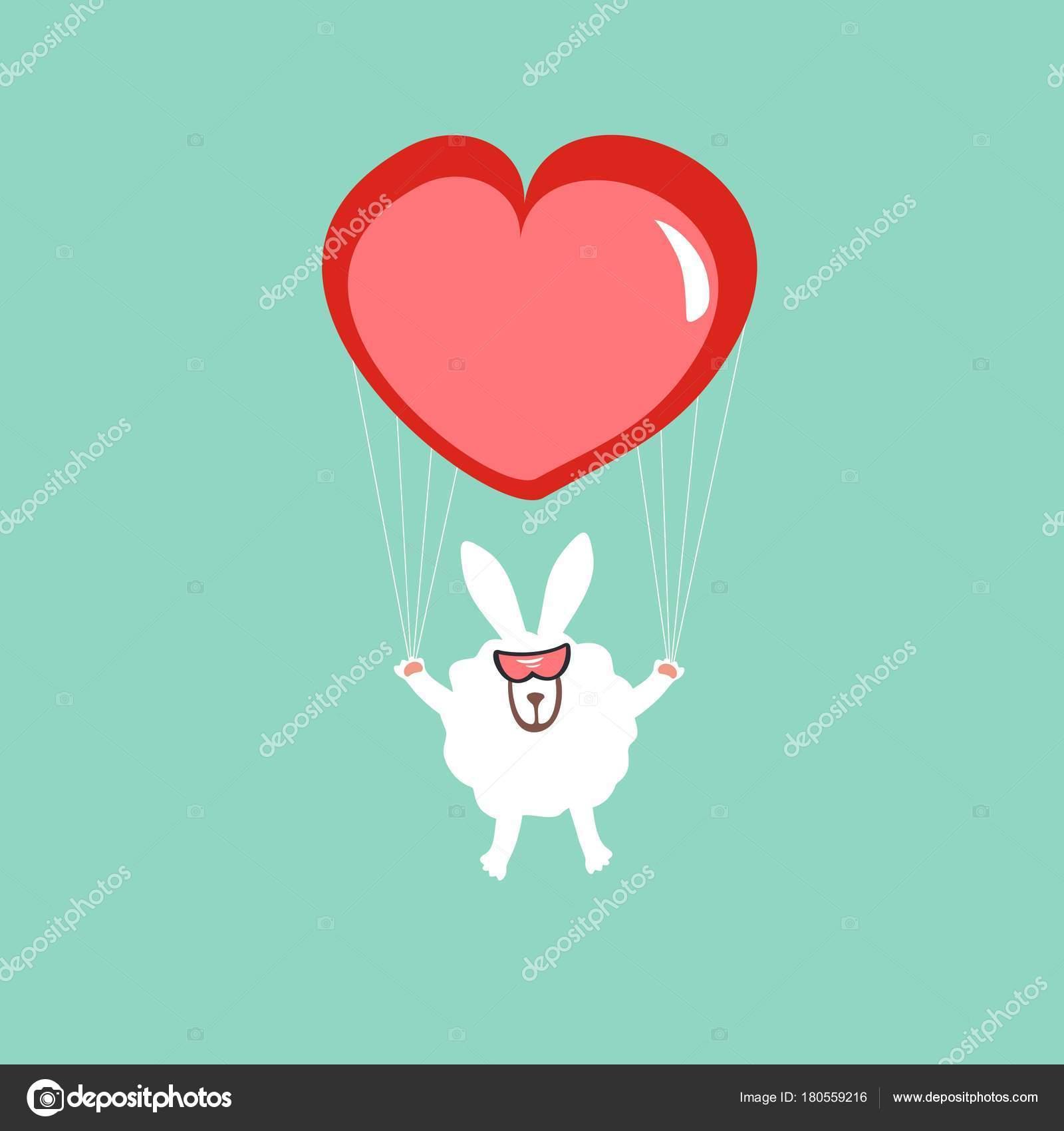 Rabbit Heart Form Parachute Greeting Card Valentine Day Love