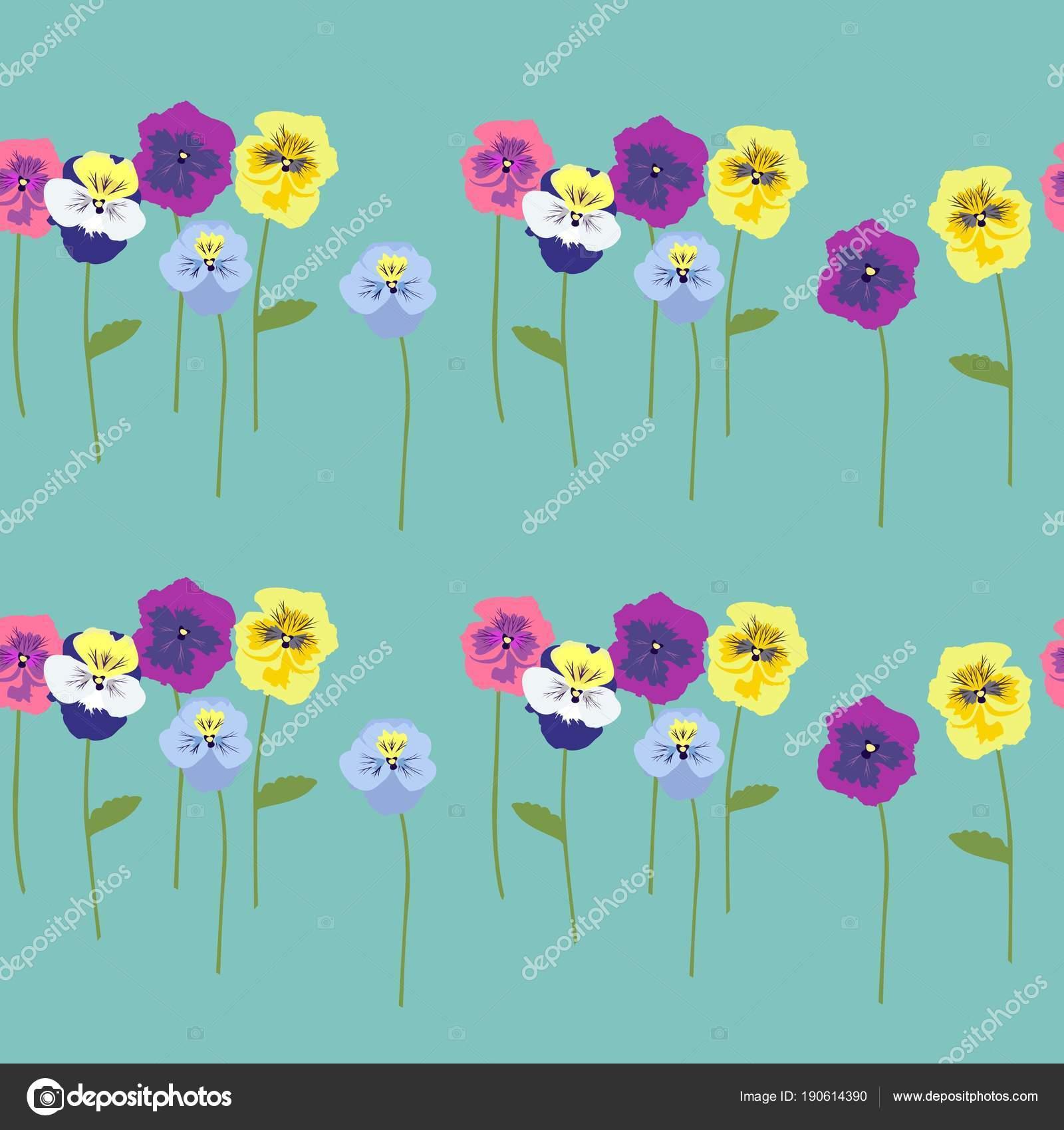 シームレス花柄背景色が水色の幹の美しい色とりどりのパンジーの花に