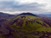 Panoramablick auf bunte Rhyolith vulkanischen Bergen landmanna