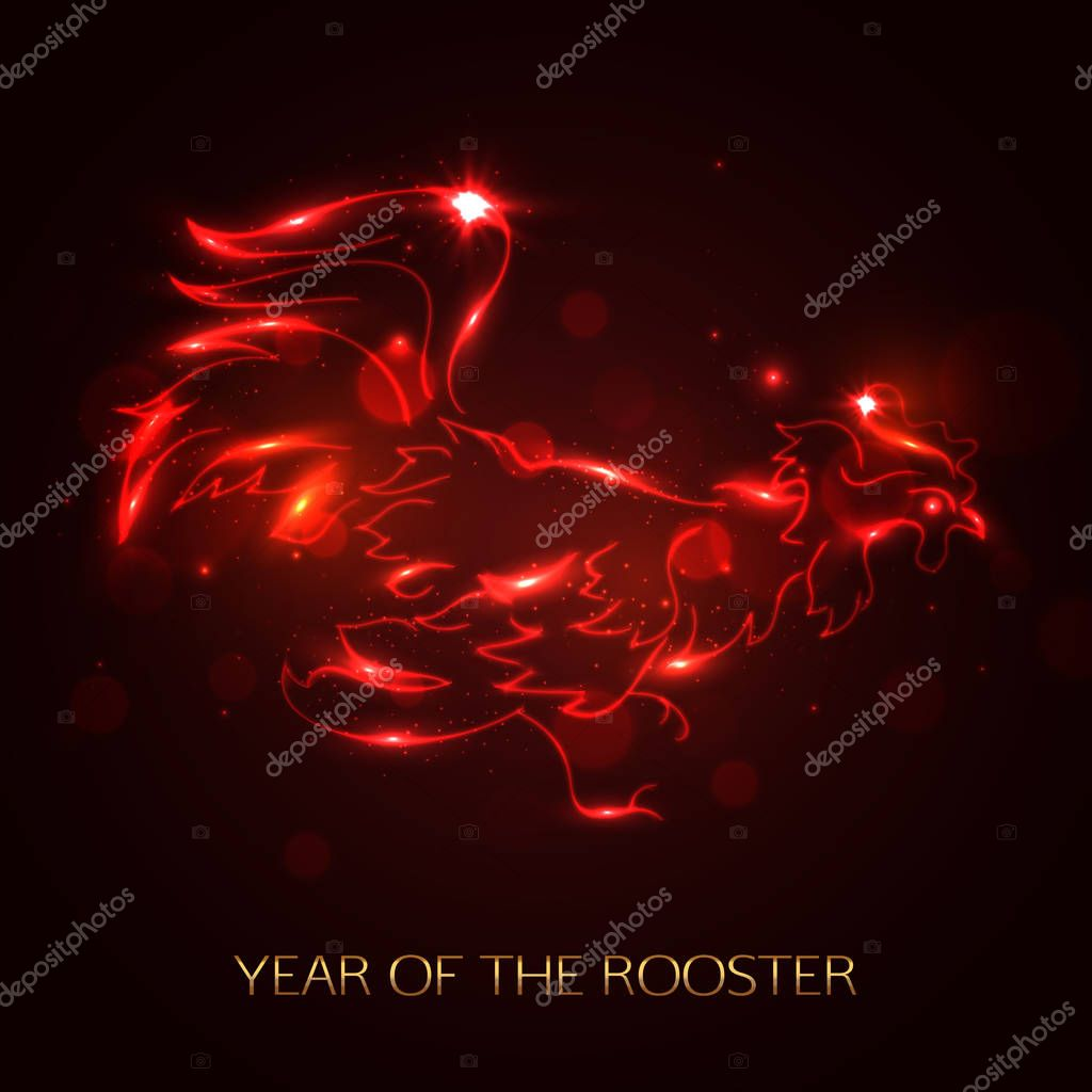 Red Cock Symbol 2017 By The Chinese Calendar Fire Rooster Template