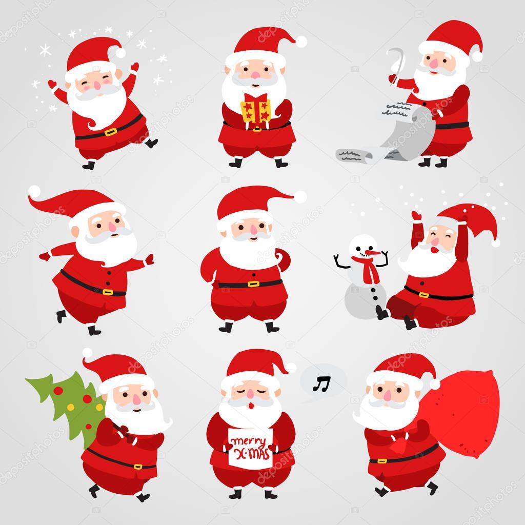 Sammlung von Weihnachten Santa Claus Icons isoliert auf weißem ...