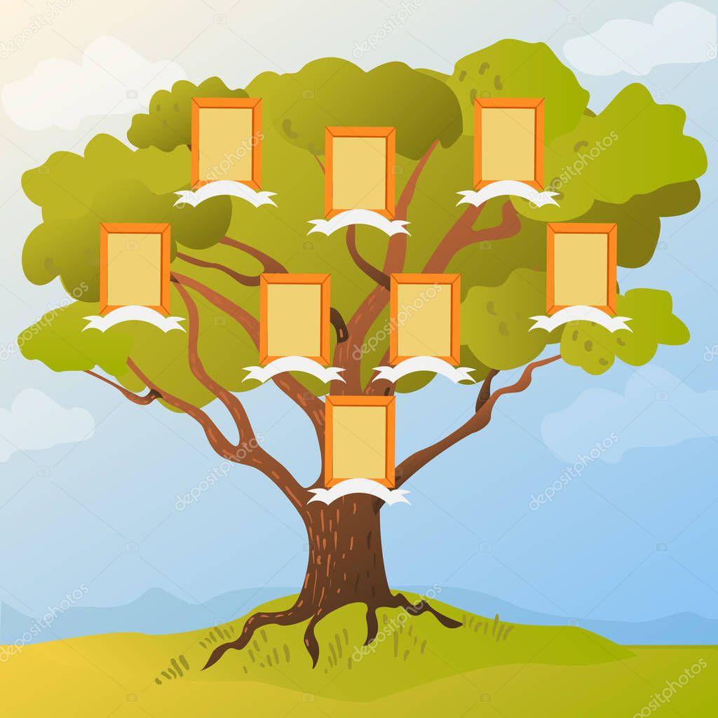 Árbol de familia con marcos para fotos de miembros de la familia ...