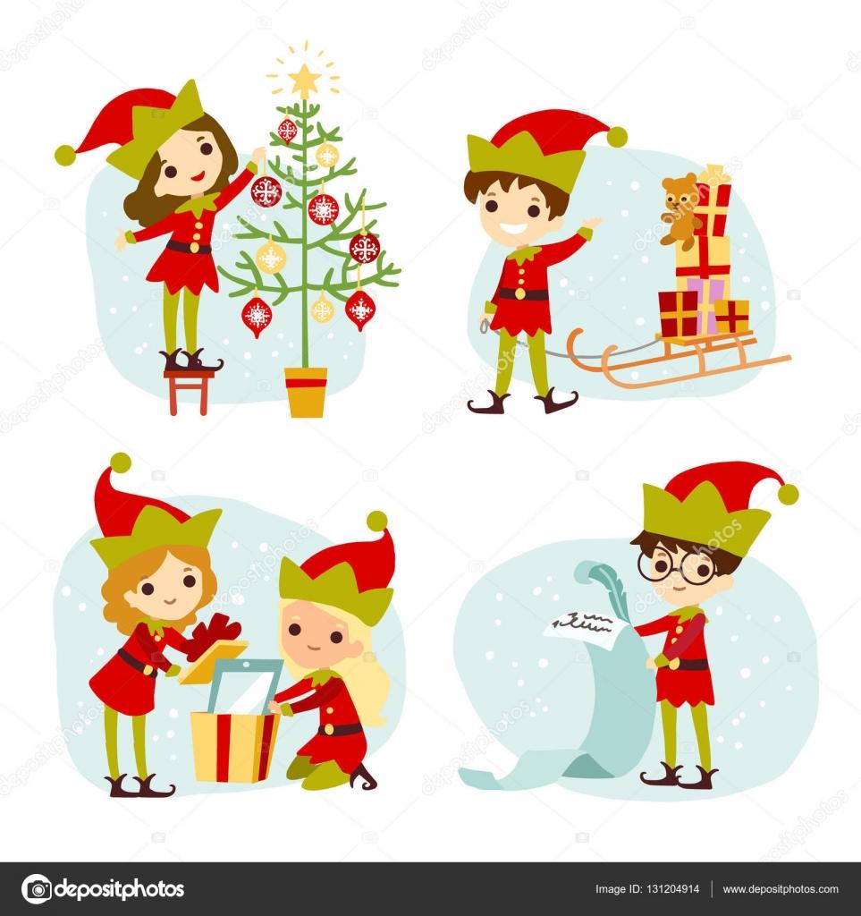 elves santas helpers cartoon vector illustration set of santa
