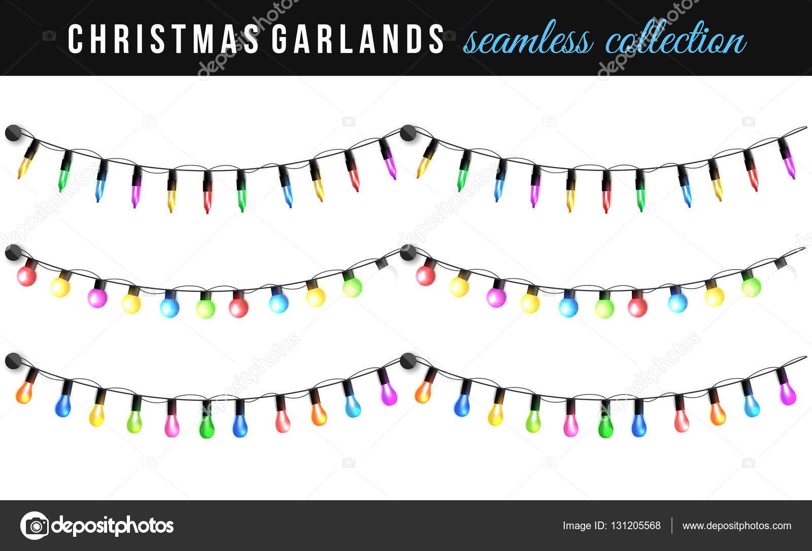 Set kerst tekenreeks bollen geïsoleerd op een witte achtergrond ...