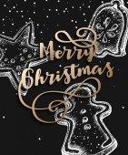 Veselé vánoční přání s cookies, vektorové ilustrace