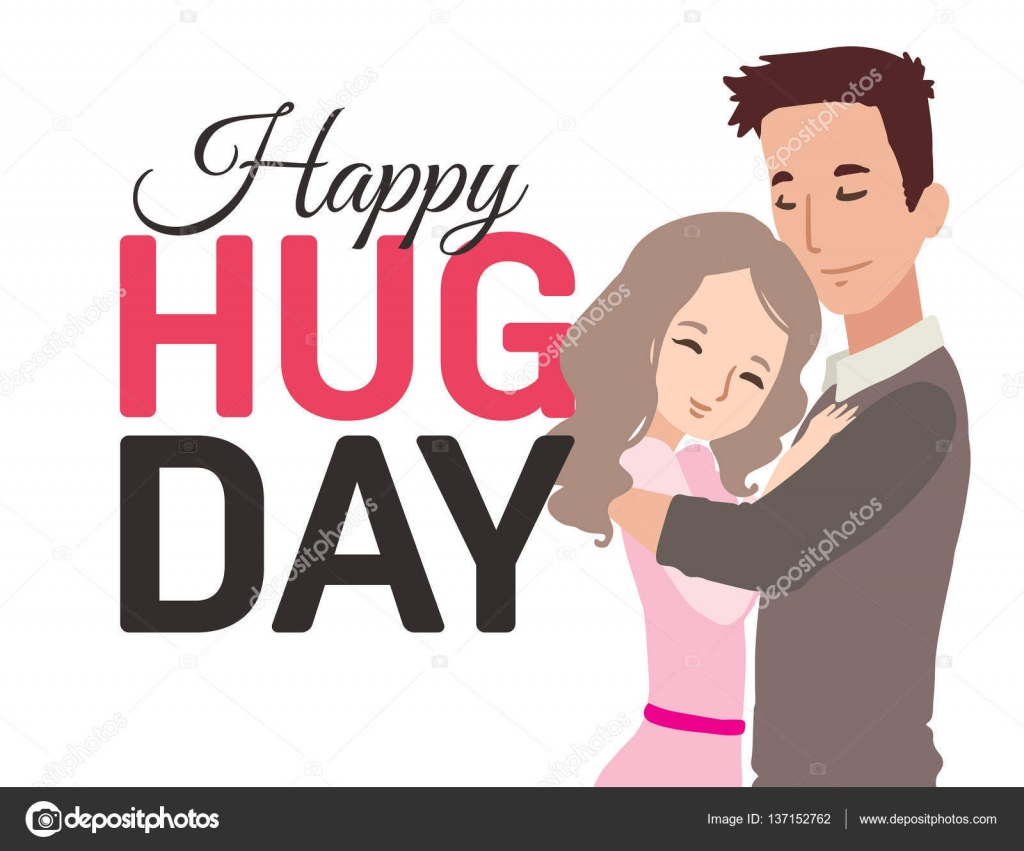 d4130dc9258 Happy hug day greeting card with hugging couple. Vector illustration — Stock  Vector