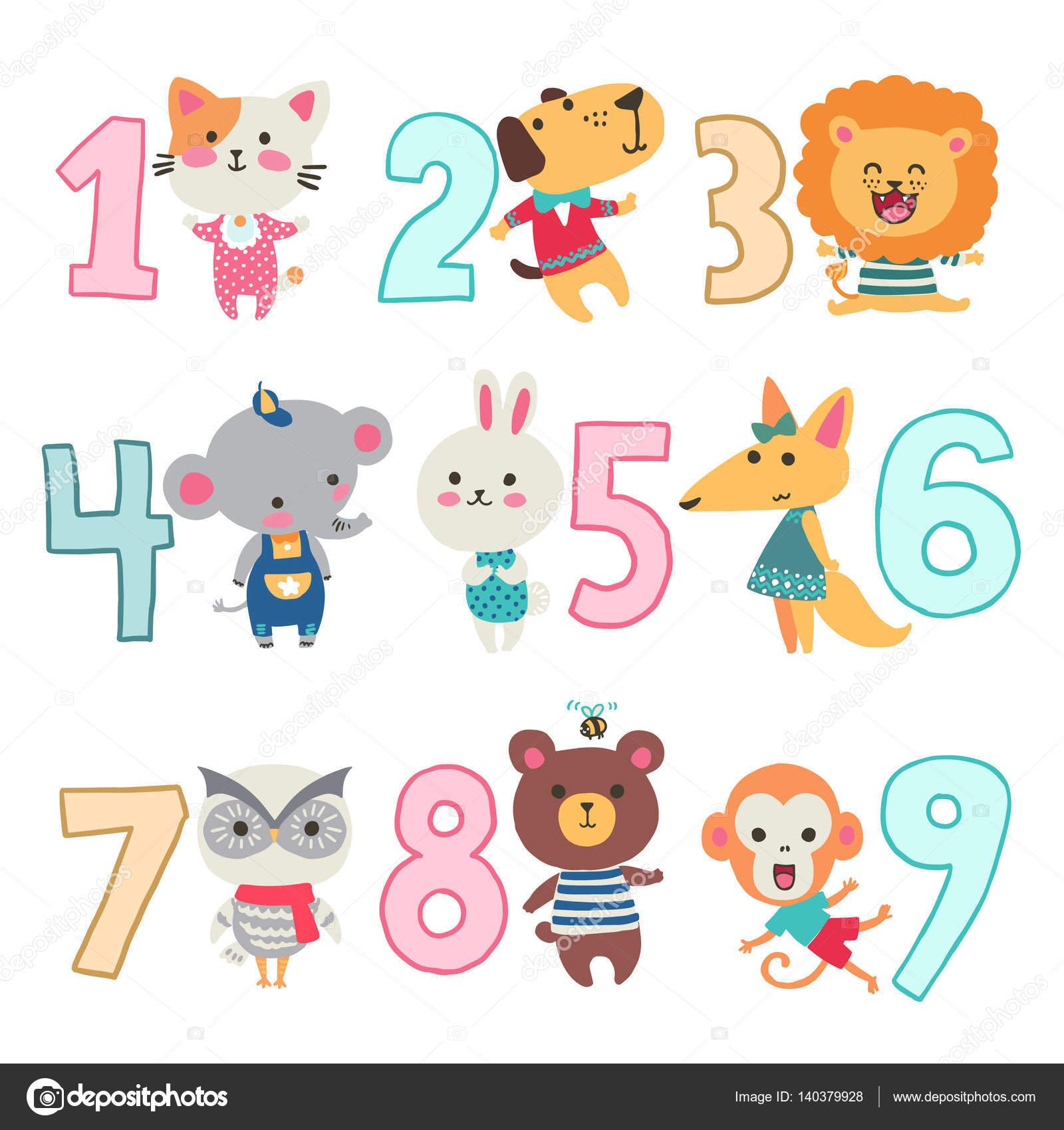 Urodziny Rocznica Numery Z śmieszne Zwierzęta Znaków Dla Karty Dla