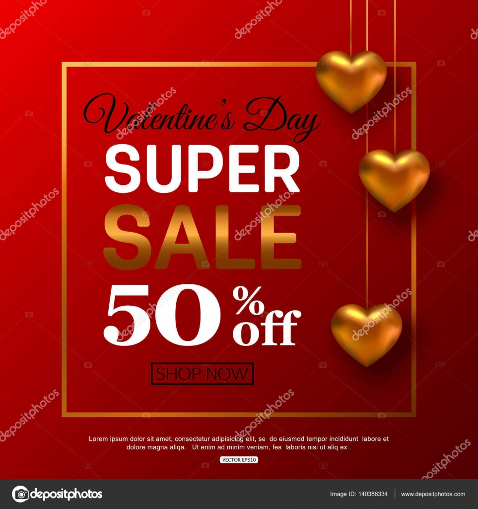 Valentines Day Sale Banner For Advertising Actions Vector