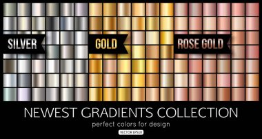 Set of rose gold, silver gradients. Shiny gold texture, vector illustration.