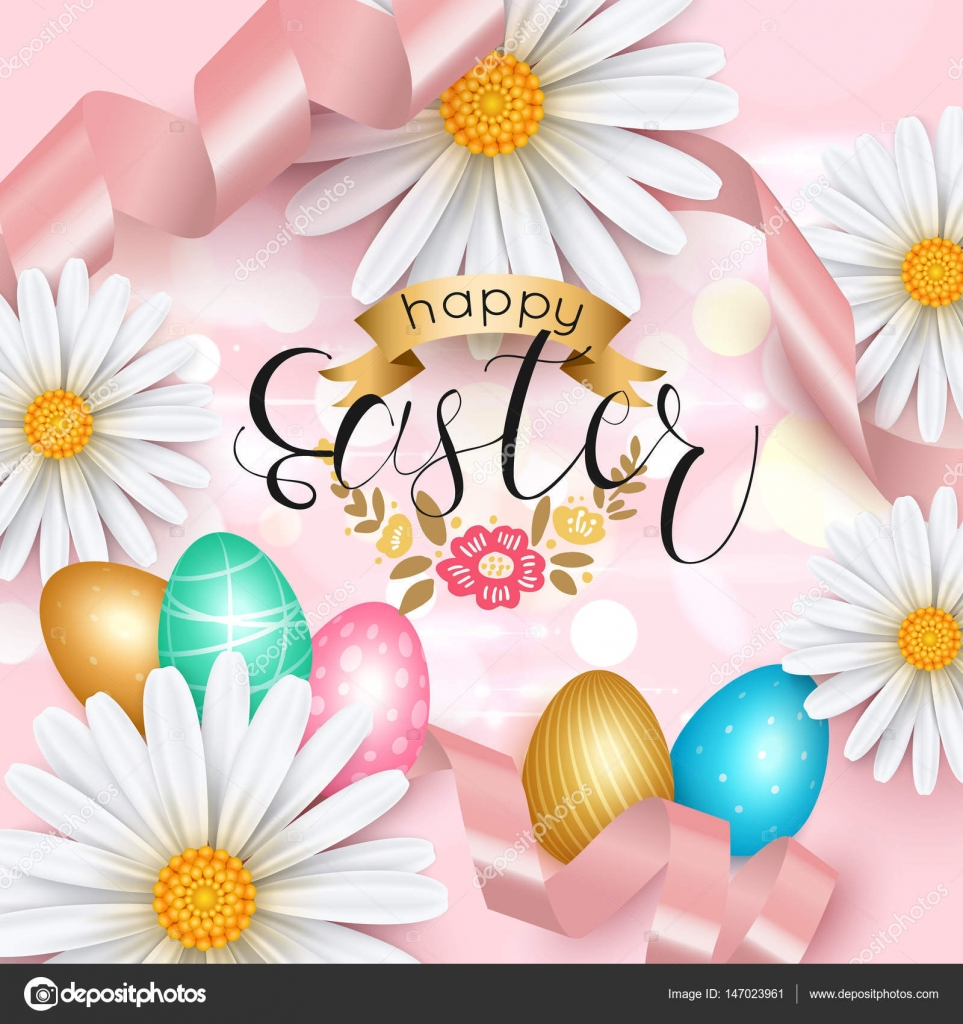 Elegant Easter Greeting Card With Daisy Flower Vector Illustration