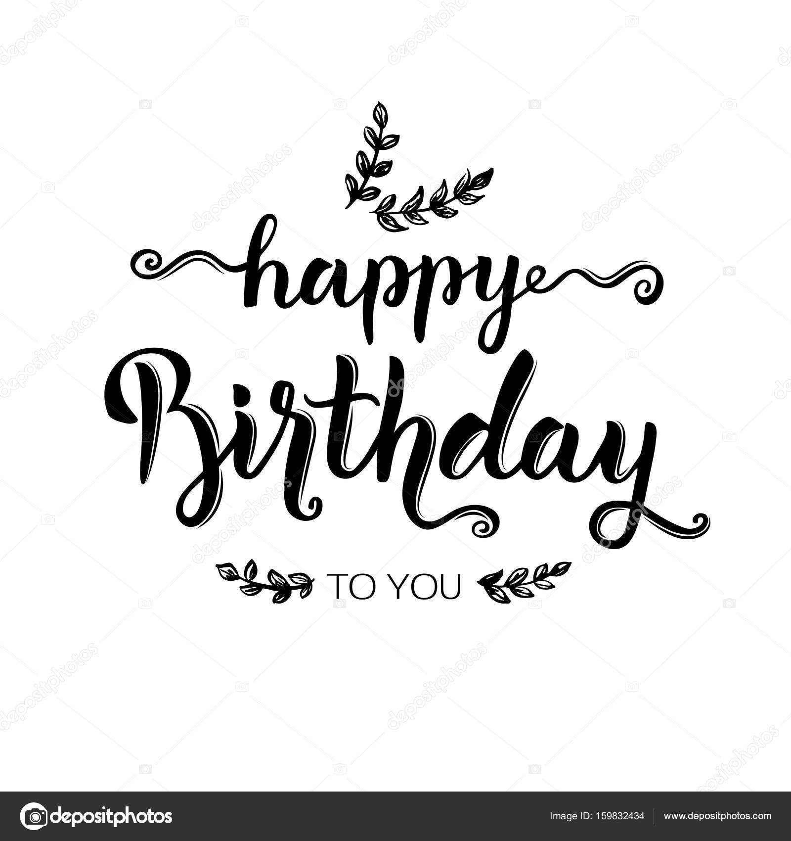 Happy birthday hand lettering brush ink calligraphy birthday happy birthday hand lettering brush ink calligraphy birthday inscription isolated on white background for greeting card vector illustration bookmarktalkfo Choice Image