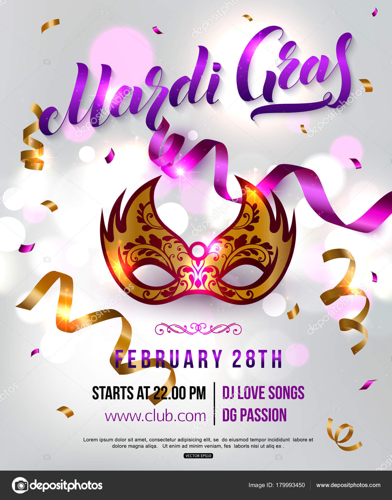 Mardi Gras carnival party invitation poster with masquerade gold ...