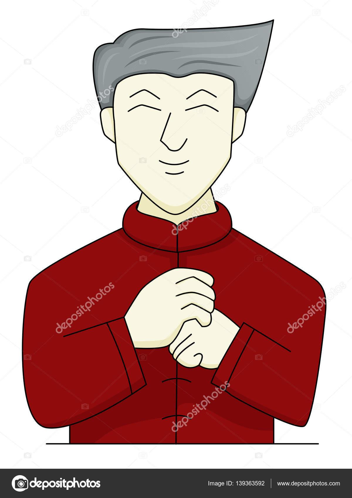 中国人男性の敬礼の手ジェスチャー漫画イラスト ストックベクター